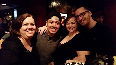 With Danny, friend Teresa, and Travis