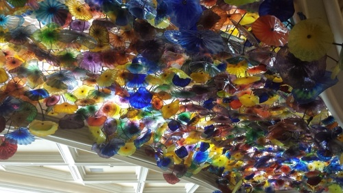 Chihuly glass on the ceiling of the Bellagio lobby
