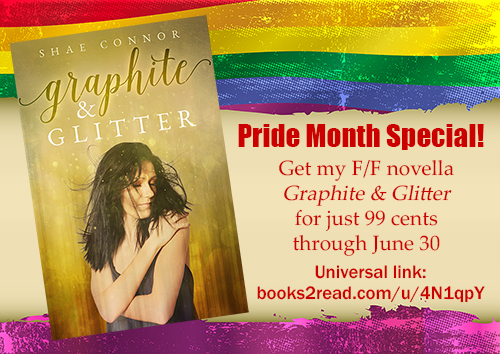 Image showing the cover of my novella Graphite & Glitter and advertising at 99-cent sale for Pride Month
