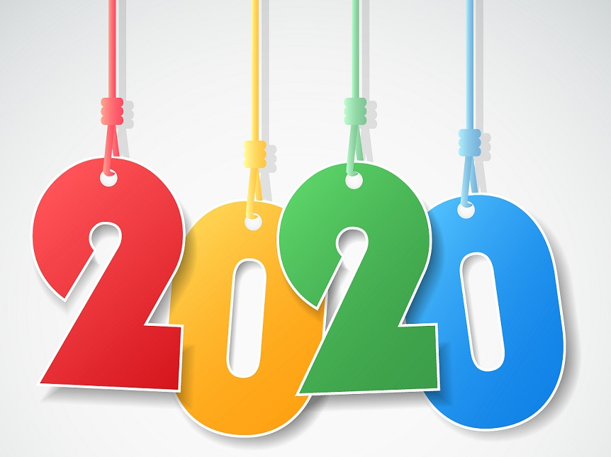 2020 in large hanging numbers in different colors